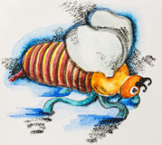 Funny stylized fat striped bee, watercolor Royalty Free Stock Image