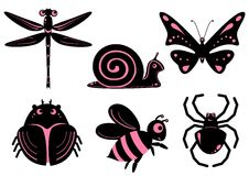 Funny stylized insects. Set of funny stylized insects like emo stile Stock Image