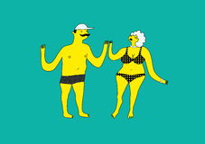 Funny stylized man and woman in swimsuit. Summer retro poster with cartoon couple. Vector illustration. Funny man and woman in swimsuit. Summer retro poster Royalty Free Stock Photo