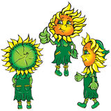 Funny stylized sunflowers in the green Royalty Free Stock Photos