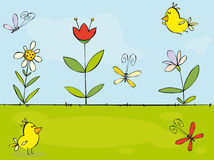 Funny summer. Background with flowers and yellow birds Stock Photography