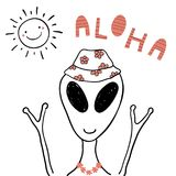 Funny summer alien. Hand drawn portrait of a cute funny alien in flower chain, bucket hat, under summer sun. Isolated objects on white background. Line drawing Stock Photography