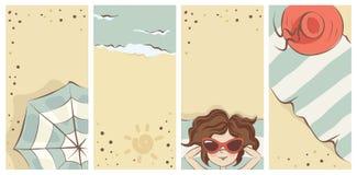 Funny summer beach banners vector illustration