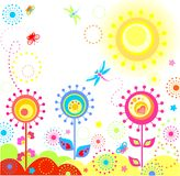Funny summer card. With abstract colorful flowers Royalty Free Stock Images