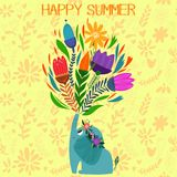 Funny summer card with elephant in flowers Royalty Free Stock Photo