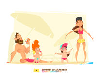 Funny summer characters in cartoon style Stock Illustration