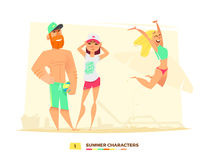 Funny summer characters in cartoon style Royalty Free Stock Photo