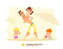 Funny summer characters in cartoon style Stock Photos