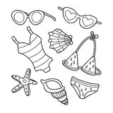 Funny summer doodle set. Stock Photography