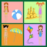 Funny summer icons Stock Image