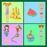 Funny summer icons Stock Photo