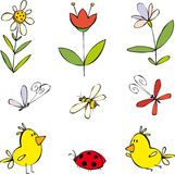 Funny summer set. With cartoon flowers, bugs and birds Stock Images