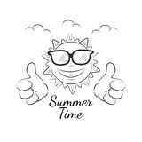 Funny summer sun with thumb up Royalty Free Stock Images
