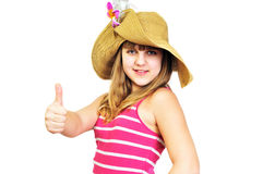 Funny summer teen showing thumbs up Stock Photos
