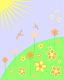 Funny summer time. Vector illustration of sun, flowers and birds Stock Photos