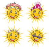 Funny sun. Four seasons set. Isolated vector illustration Royalty Free Stock Photos