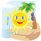 Funny sun. In the beach. Vector illustration Royalty Free Stock Photo