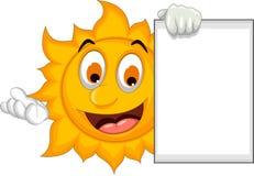 Funny sun cartoon holding blank sign Stock Photography