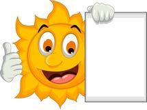 Funny sun cartoon holding blank sign Royalty Free Stock Image
