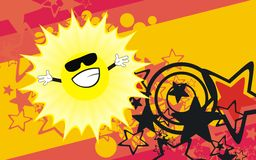 Funny sun expression catroon background Royalty Free Stock Images