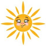 Joyful sun on  white background. Funny sun with a heart-shaped nose on  white background Stock Photo
