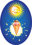 Funny sun and ice cream. Funny sun and ice cream on the blue background Royalty Free Stock Photo