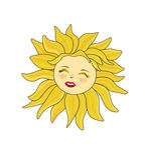Funny sun isolated on white background. Illustration Royalty Free Stock Photo