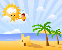 Funny sun looking over the beach Royalty Free Stock Image