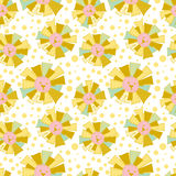 Funny Sun in Patchwork Style Pattern Stock Photo