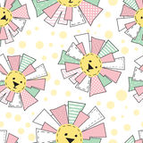 Funny Sun in Patchwork Style Pattern Stock Photos
