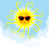 Funny sun in the sky Royalty Free Stock Photos