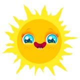 Funny sun with smile. Vector cute sun in kawaii style. Funny sun with smile Stock Photos