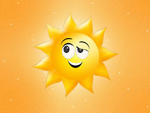 Funny sun in summer. Funny illustration of sun in summer Royalty Free Stock Image