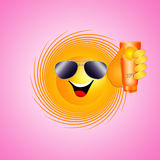 Funny sun with sun lotion Stock Image