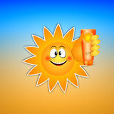 Funny sun with sunscreen Royalty Free Stock Image