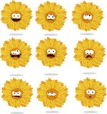 Funny sunflower emoticons Royalty Free Stock Photo