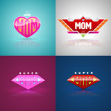 Funny super mom logo set. Royalty Free Stock Photos