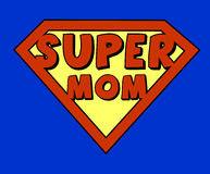 Funny super mom shield Stock Photography