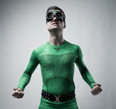 Funny superhero snarling Royalty Free Stock Photo