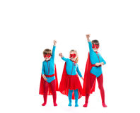 Funny superheroes. Dreamers. Funny superheroes. Children playing superheroes  isolated. Dreamers Stock Photography