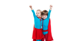 Funny superheroes. Dreamers. Funny superheroes. Children playing superheroes  isolated. Dreamers Stock Photos