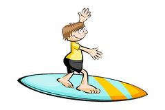 Funny surfer isolated on white Stock Photo