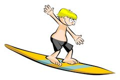 Funny surfer isolated on white Stock Photos