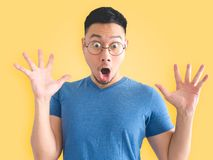 Funny surprised face of Asian man. royalty free stock images