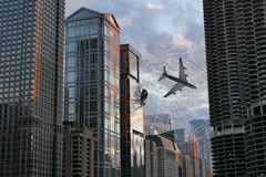 Funny Surreal Spider, City, Web, Jet Plane