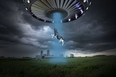 Free Funny Surreal UFO Alien Abduction Stock Photography - 152440502