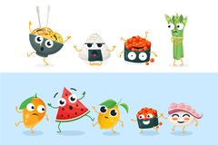 Funny sushi and fruit characters - set of vector isolated illustrations. On white and blue background. High quality collection of cartoon emoticons showing Royalty Free Stock Photo