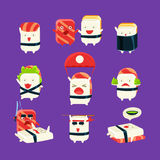 Funny Sushi Man Different Activities Set Royalty Free Stock Image