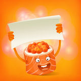 Funny sushi roll character holding banner template Royalty Free Stock Photos