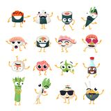 Funny sushi and wok - vector isolated cartoon emoticons. Cute emoji set with a nice character. A collection of an angry, surprised, happy, crazy, laughing, sad Stock Images